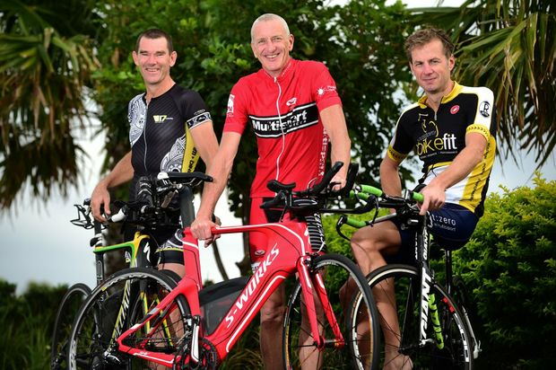 Sunshine Coast Ultraman Australia competitors Robbie Andrews, Tony Bryan and Stephen Gage.