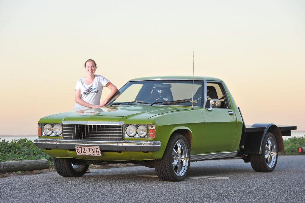 Haylea Robinson shows off her 1978 HZ Holden ute.
