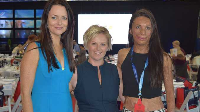 Juliette Wright, CEO of Givit, Susan Bower, Head of Agribusiness for Westpac, and humanitarian Turia Pitt at the Westpac Women in Business High Tea at Beef Australia 2015. Photo Rachael Conaghan/The Morning Bulletin
