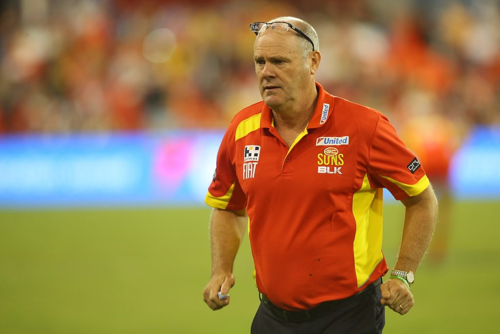 GOLD COAST, AUSTRALIA - APRIL 11: Suns coach Rodney Eade looks on during the round two AFL match between the Gold Coast Suns and the St Kilda Saints at Metricon Stadium on April 11, 2015 in Gold Coast, Australia. (Photo by Chris Hyde/Getty Images)