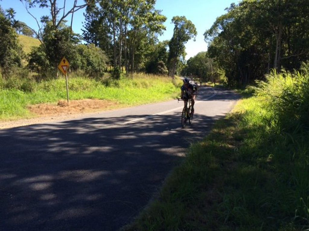 Robbie Andrews on the bike on the return journey to Noosa.