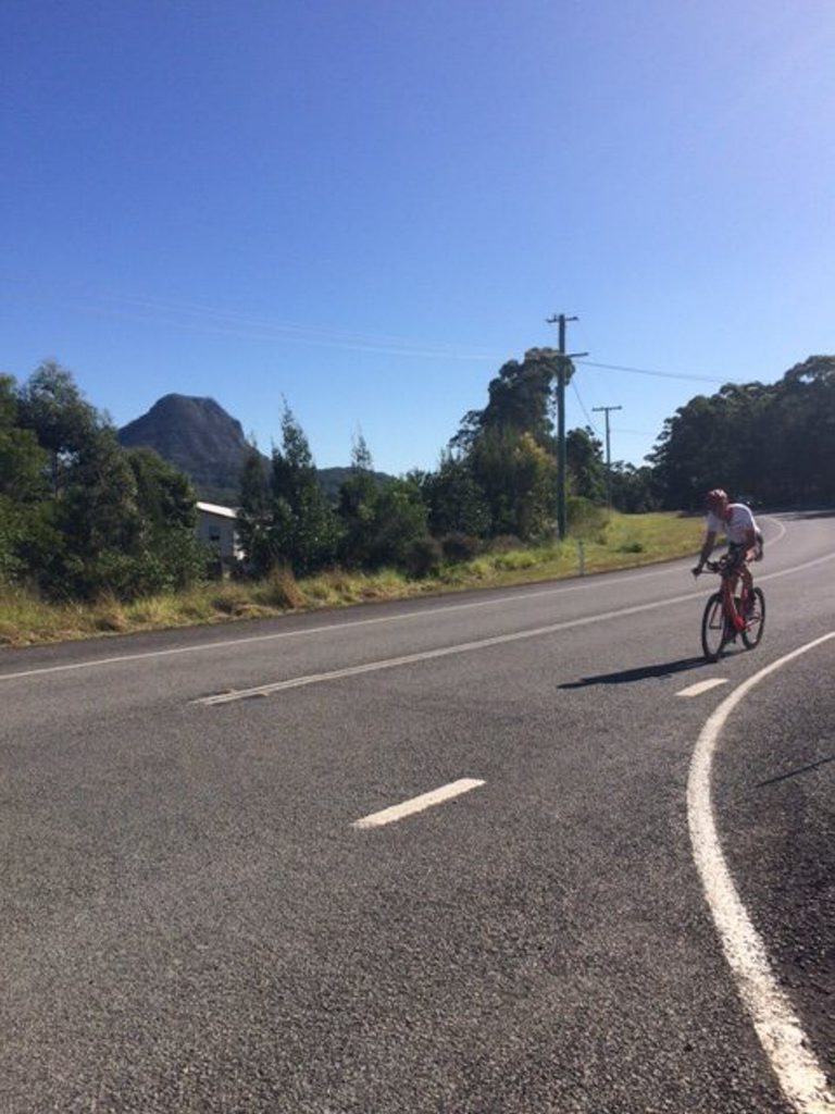 Tony Bryan rides through Cooroy.