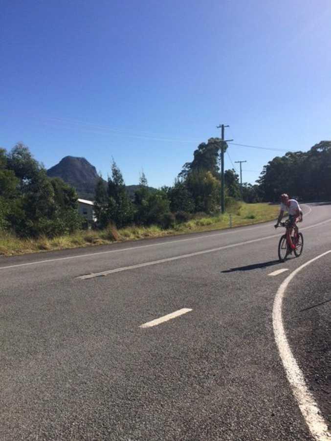 Tony Bryan rides through Cooroy.