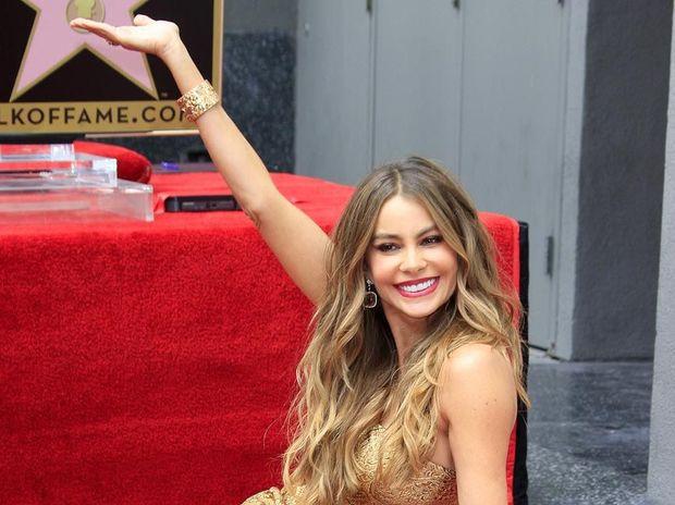 Sofia Vergara receiving her Walk of Fame Star