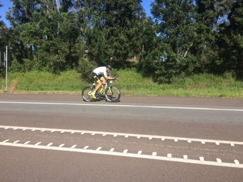 Stephen Gage on the bike leg of day two at Ultraman Australia.