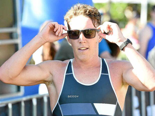Sam Appleton takes out the Byron Bay Triathlon at Main Beach on Saturday.