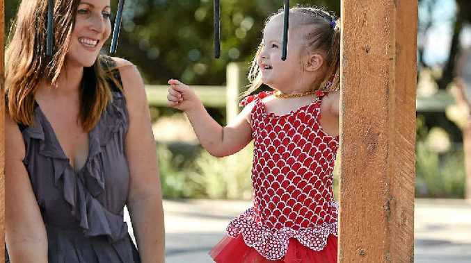 Torbanlea's Joelle and Josee Kelly travelled to Melbourne so Josee could take part in a Bonds Baby photo shoot.