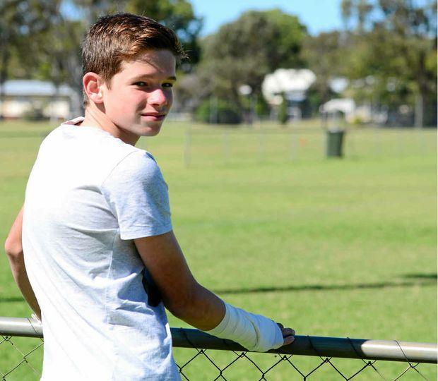 UNBROKEN: A broken wrist put Josh Ayre, 12, straight into the Wide Bay league team.