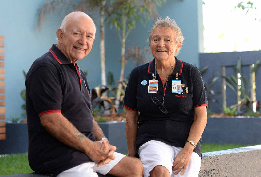 Husband and wife Dennis and Rosalie Newnham reflect on their decades of selfless community support at a morning tea to recognise volunteers at the Mater Hospital.