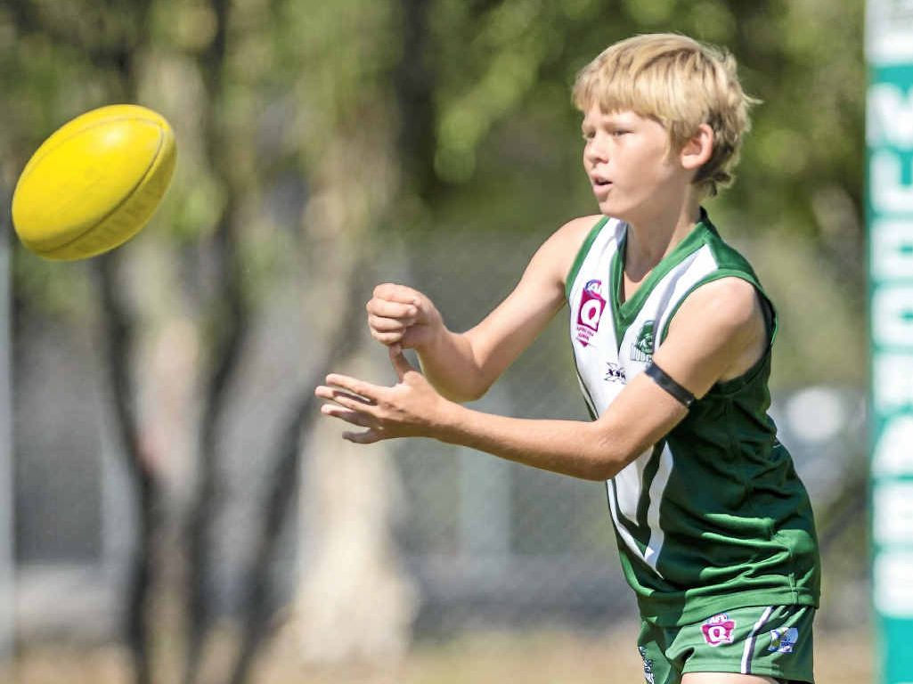 Gladstone's Aaron Hill in action in the Junior AFL: Gladstone v Glenmore U13.