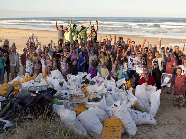 CLEAN ARMY: Volunteers with more than two tonne of rubbish collected from the beach between the Noosa River and Double Island Point on the weekend.