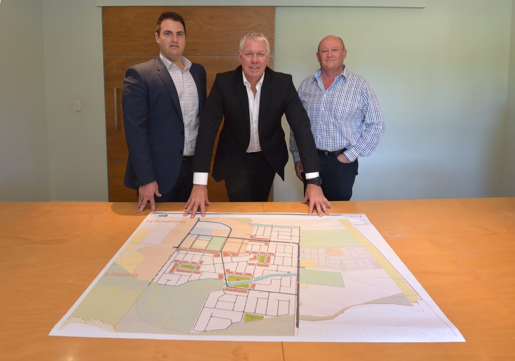 The Investa Palmwoods masterplanned community planning team (L-R) development manager Anthony Demiris, general manager Investa Land Qld Bruce Harper and senior development manager Neale Kaalund. Photo: Brett Wortman / Sunshine Coast Daily