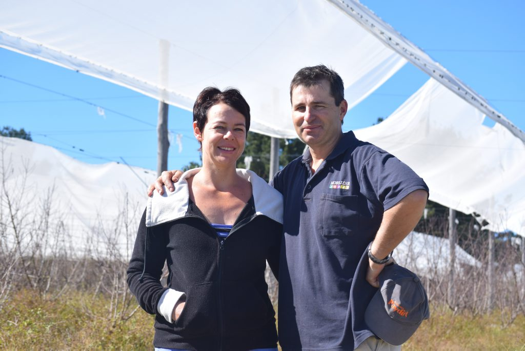 NOT AGAIN: Ellen and Justin Fawdon inspect the damage on their Stanthorpe property.
