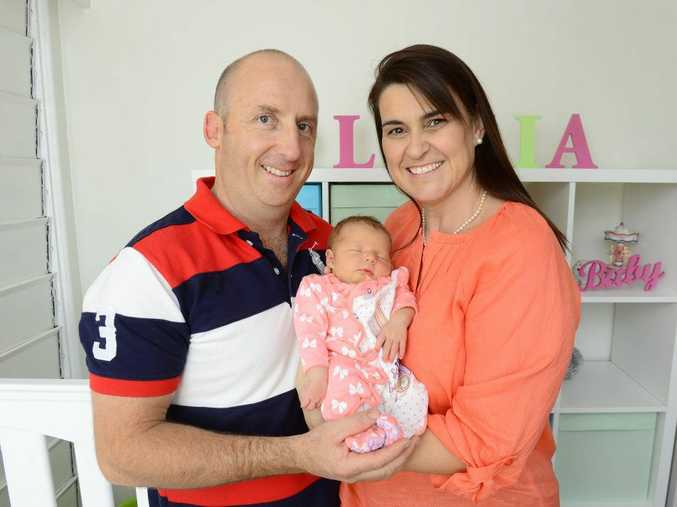 Alex Pearl and Jill Spears of Mt Gravatt with their new daughter Olivia Pearl. Olivia was born at Ipswich Hospital on the 7th May to surrogate mum Christine Fraser of Fernvale. Photo: David Nielsen / The Queensland Times
