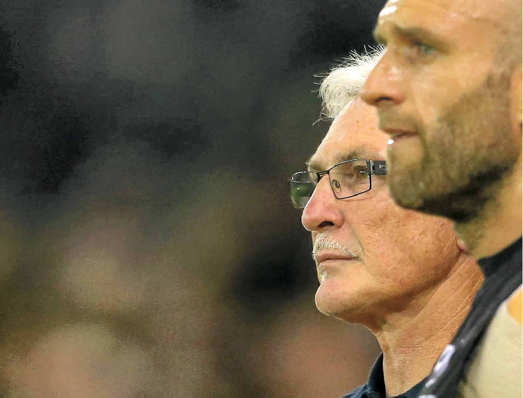 WORRYING TIMES: Mick Malthouse looks on with Chris Judd as their team takes on Brisbane at Etihad Stadium on Sunday.