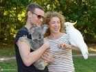 Alex Kingston and Matt Smith from Dr Who visit Australia Zoo.