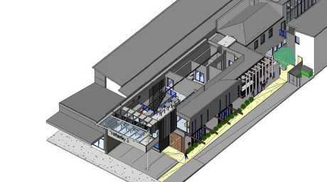 An artist's impression of the hotel and office development.