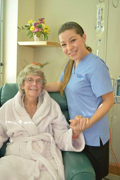 St Raphael's (medical) Ward nurse Daniella Martin with patient Shirley Connolly.