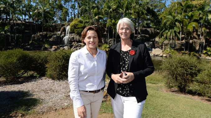 Deputy Premier Jackie Trad (left) visits Kershaw Gardens in Rockhampton with Mayor Margaret Strelow (right). Photo: Chris Ison / The Morning Bulletin