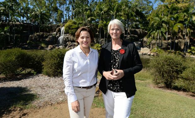 Deputy Premier Jackie Trad (left) visits Kershaw Gardens in Rockhampton with Mayor Margaret Strelow (right). Photo: Chris Ison / The Morning Bulletin