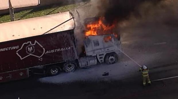 A truck on fire on Mount Gravatt-Capalaba Road, Wishart Photo: Nine News Brisbane