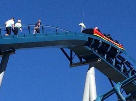 The Sea World Storm Coaster stuck mid-ride. Photo: Twitter user @EssendonBomber