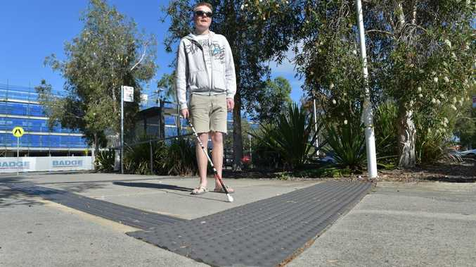 Tactile paving is very important for visually impaired people like Blake Ison, pictured. People have been pulling it up around Kawana and the Sunshine Plaza.