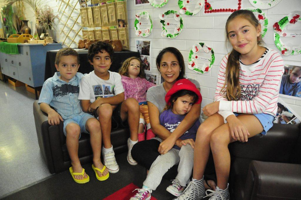 The List family, from left, Christopher (5), Dylan (7), Caitlyn (3), mum Denise Kritikakis, Keira (3) and Chloe (10).