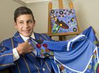 Toowoomba Grammar school student Isaac Burgoyne submitted a painting to a South West Indigenous Netwok competition resulting in his painting being made into a Canterbury jersey design. Wednesday, May 13 , 2015 . Photo Nev Madsen / The Chronicle