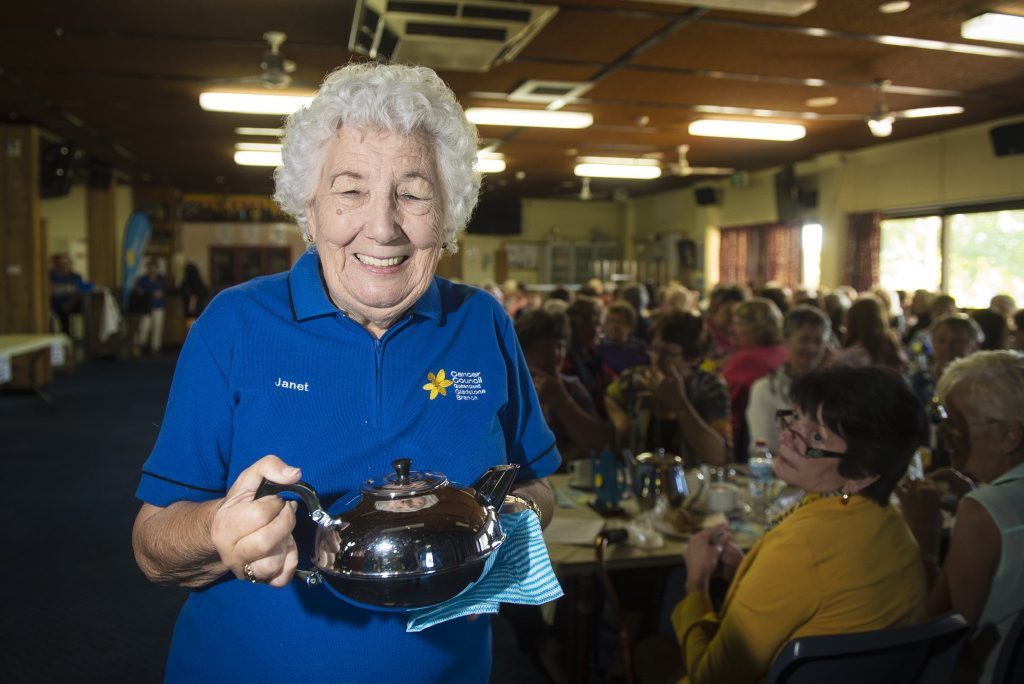 Cancer Council Gladstone Branch volunteer Janet Dononey served tea to guests at the Australia's Biggest Morning Tea fundraiser.