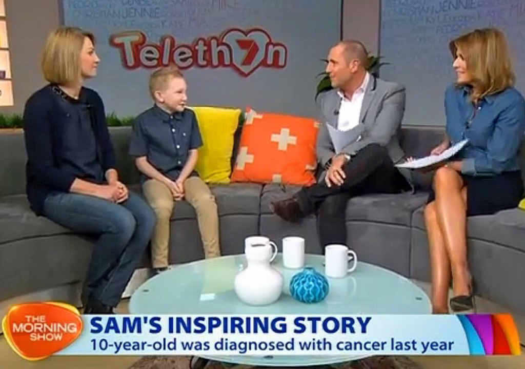 NATIONAL: Sam Carroll and his mum Angela appear on The Morning Show with Larry Edmur and Kylie Gillies. PHOTO: SCREENSHOT FROM CHANNEL 7