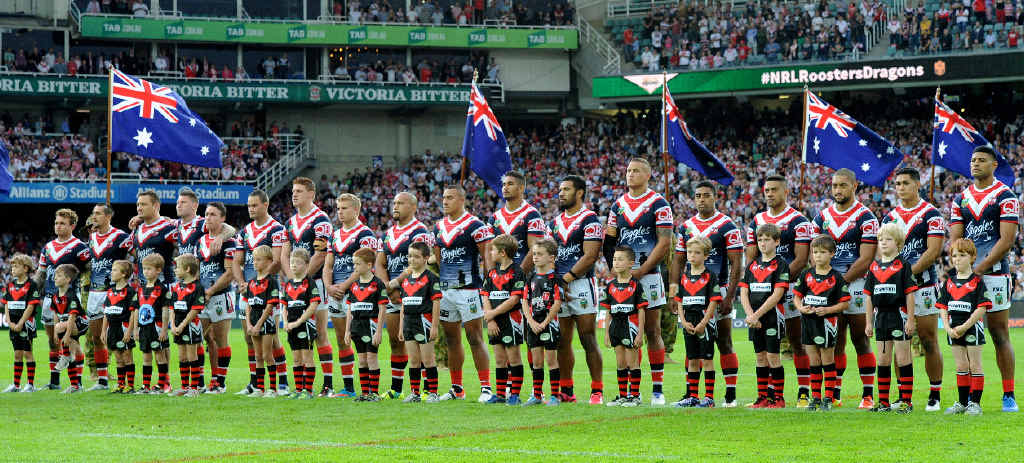 TRIBUTE: Sydney Roosters, pictured on Anzac Day, will pause with the Canterbury Bulldogs to remember Zane Purcell ahead of tonight's NRL clash in Sydney.