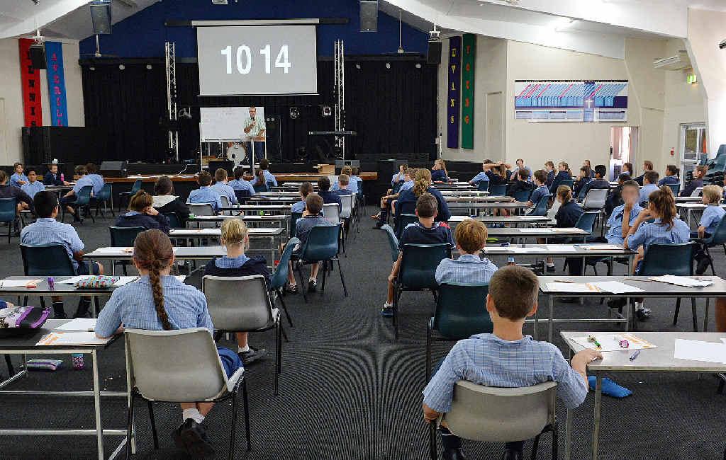 Mackay Christian College students prepare to take their NAPLAN tests.