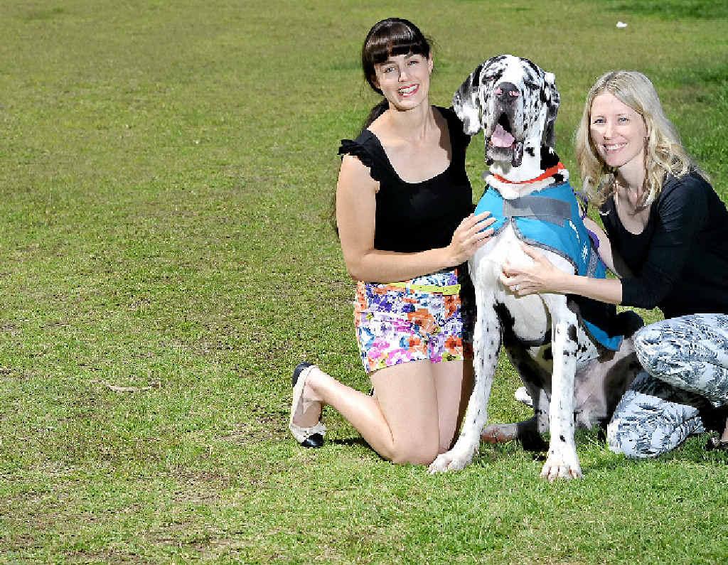 TAKE A WALK: Emma Lagoon (left) and Kara Van Der Walt with their dog Zeus are all smiles at last year's Million Paws Walk.