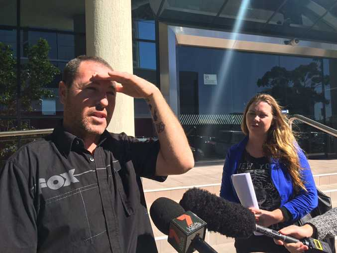 Bradley Ashton pleaded guilty to animal cruelty in the Maroochydore Magistrates Court. His girlfriend Taryn Graham supported him in court. They speak to the media outside court.