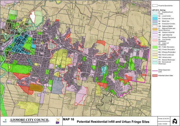 A Lismore City Council zoning map. The areas in red are sites for potential urban development.