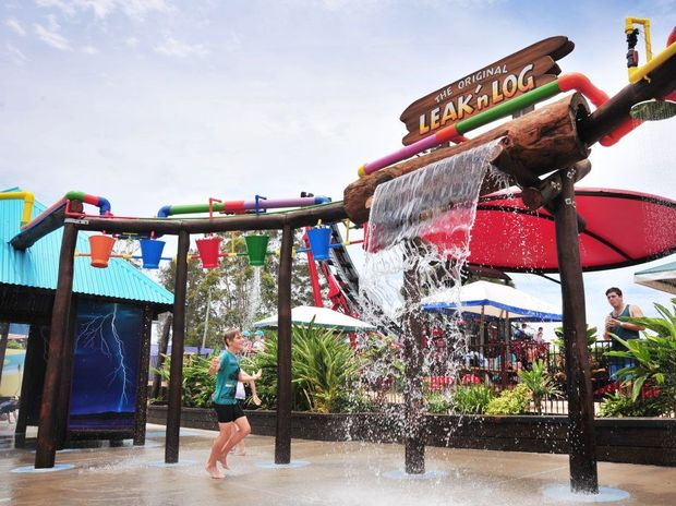 Wet and wild fun at the Leak 'n Logs attraction at Aussie World.
