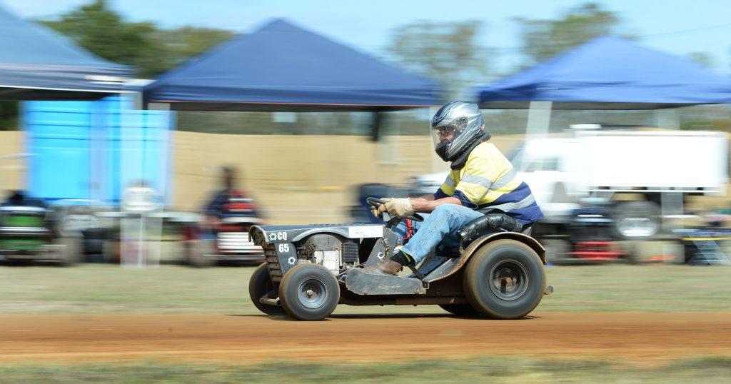 Dave Andrews at the All Australian Mower Racing Championships held at Yaamba north of Rockhampton. Photo: Chris Ison / The Morning Bulletin