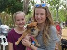 Ella and Keely Austin with Breena at the RSPCA Million Paws Walk. Photo Michelle Gately / Morning Bulletin