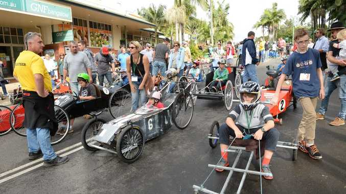 Getting ready for the start at the annual Billy Cart Derby at Bangalow.