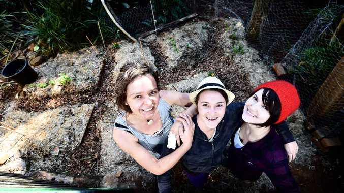 KIND ACT: Ilona Popp, Ebony Potts and Nina Elliott-Bullen create a garden for Samantha Elliott, of Wollongbar, to provide her with fresh food while she undergoes cancer treatment.