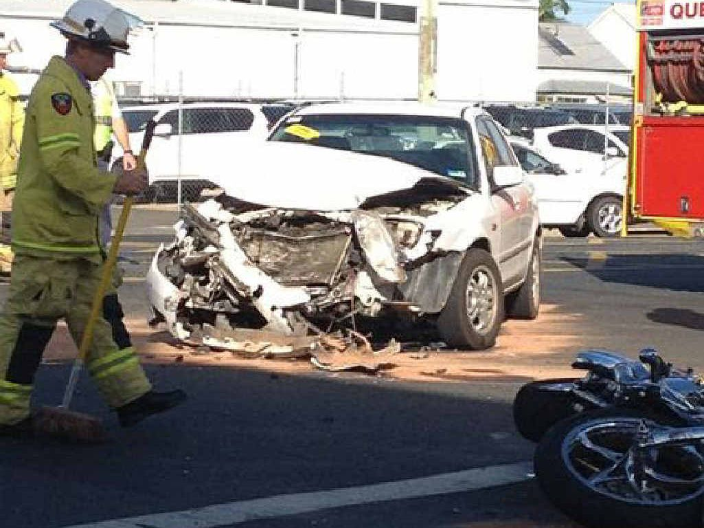 RIDER DOWN: Scene of the crash between car and motorbike on corner of Denison and Denham Sts, Rockhampton, on February 14, 2013, which has resulted in the court claim for $1.4m.