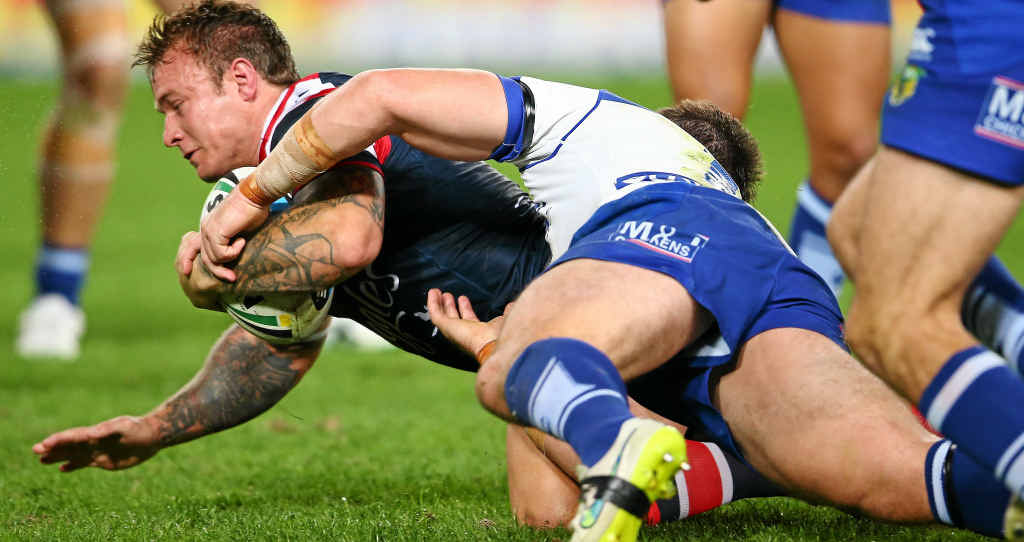 OVER THE LINE? Jake Friend, in action for the Roosters at ANZ Stadium on Friday night, could be in line for a State of Origin berth.