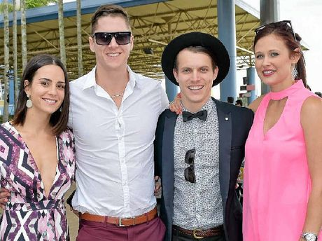 Sheri Heuston (left), Marty Skele, Travis Scholl and Chelsea Auld enjoy the Caloundra Cup Day.