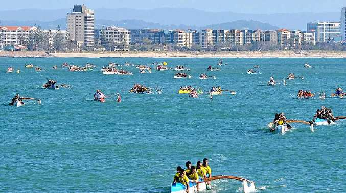 HOME SURF: Mooloolaba excels at the National outrigger titles at Mooloolaba.