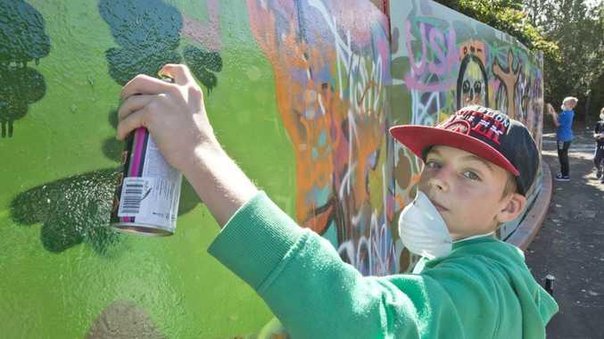 James Banks, street art workshop part of the First Coat festival.