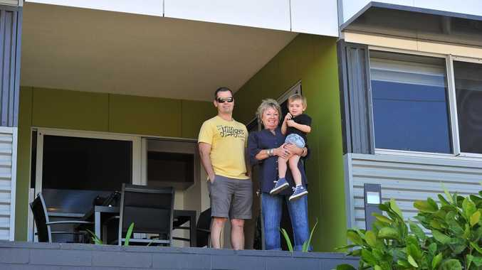 Heather Kroesen, son Damon Kroesen and grandson Declan Kroesen, 3, checked out the units at Gladstone Affordable Housing*s newest complex Shearwater. Photo Mike Richards / The Observer
