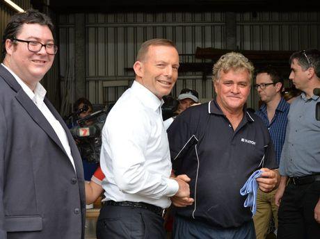 Steve Geiger with Tony Abbott in Mackay. Photo Peter Holt / Daily Mercury