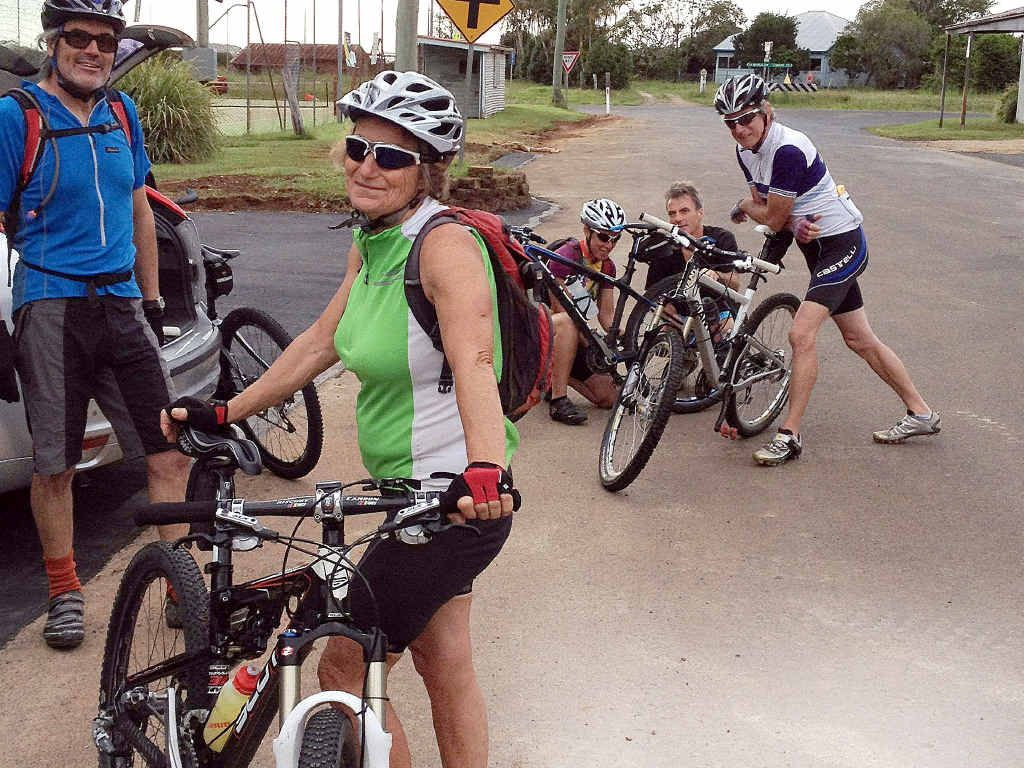 AT LEFT: Jenny Caldwell ready to go on a mountain bike ride with members of the Byron Bay Cycling Club.