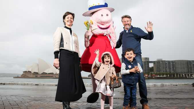 Cancer Council Ambassador Peppa Pig with (L-R) Catherine, Bella, Bennett and Barry Du Bois.
